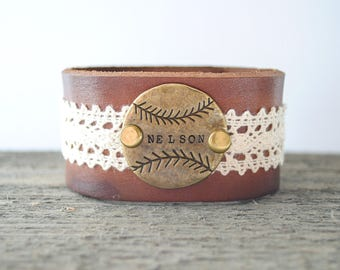 Personalized Baseball Leather Cuff Bracelet - Lace and Leather - Handstamped Metal