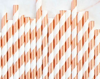 Rose Gold Foil Paper Straws, Rose Gold Foil Stripe Paper Straws, Gold Cake Pop Sticks, Foil Rose Gold Paper Straws, Wedding Paper Straws