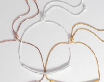 14 kt Yellow gold filled over  Sterling Bar Friendship Bolo Bracelet Adjustable Sliding clasp