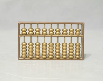 Vintage Small Brass Abacus with Guide Book / Ancient Counting Frame, Manual Calculator Decorative Paperweight Retro Office Desk Accessory