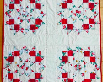 Shabby Chic Baby Quilt, Crib Blanket, Spring Red Roses on Cream Background