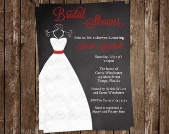 Chalkboard Bridal Shower Invitations, Wedding Gown, Dress, Red, Scarlet, Crimson, Set of 10 Printed Invites, FREE Shipping, CKGRD, Custom
