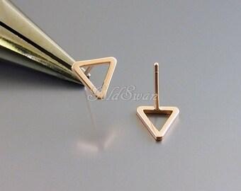 4 matte rose gold simple open triangle earrings, 10mm matte rose gold plated brass triangle earrings, geometric 1068-MRG-8