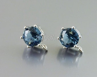 2 pcs simple blue sapphire glass 7mm round faceted stone earrings, earring making supplies 5139R-BS