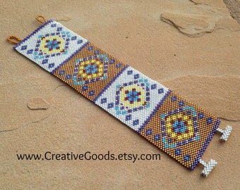Southwest Diamonds Bracelet Pattern - Peyote Pattern