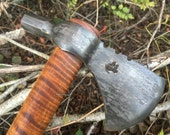 Custom forged hammer poll tomahawk, curly maple handle, Forged Axe