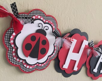 LadyBug Red Black White Polka Dot Happy Birthday Lady Bug Banner Girl Baby Shower Birthday Party Decorations Room Decor