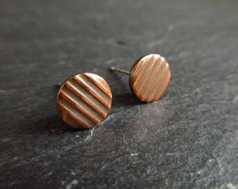 Copper stud earrings with stripe pattern, studs, copper wedding anniversary gift, 7th anniversary gift, copper earrings, post earrings