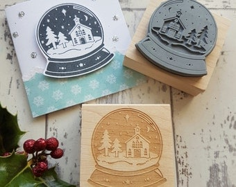 Christmas Snowglobe Rubber Stamp  - Christmas Stamper - Christmas Scene - Hat Scarf -  Card Making - Church - Scrapbooking - Contemporary