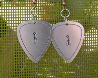 Aluminum guitar pick earrings with guitar - accoustic guitar