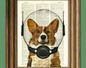 Space Corgi. Lieutenant Waffles of the Space Patrol Cardigan Welsh Corgi dog in a space helmet illustration dictionary page book art print