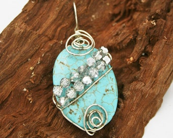 Turquoise Colored Magnesite and Silver Crystals Pendant