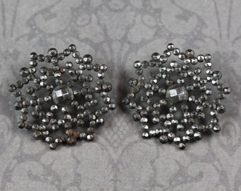 Pair of Georgian/Victorian Cut Steel Riveted Round Filigree Buttons
