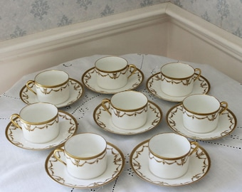 Set of 8 White and Gold Garland French Depose Limoges Cups and Saucers