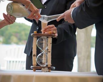 The Adirondack White Birch and Walnut Wedding Unity Sand Ceremony Hourglass