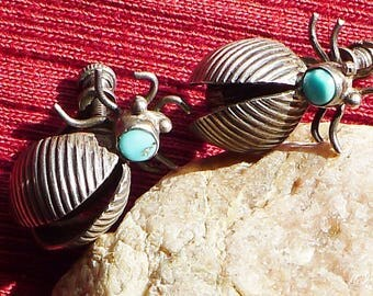 Southwest Sterling Silver Turquoise Bug / Insect / Beetle Earrings