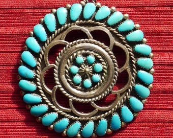 Southwest Sterling Silver Petit Point Turquoise Sunburst Pin / Pendant Necklace