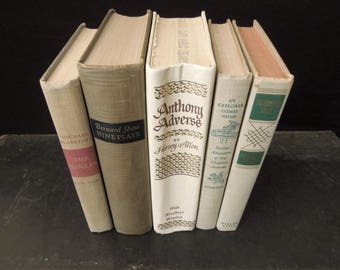 Taupe Beige Neutral Book Bundle - Books for Decor - Vintage Book Stack - Old Book Collection