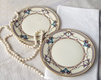 2 Rosenthal Daphne Fine China Bread Plates - Cream Gold Rimmed Floral Swag Porcelain Bread and Butter Dishes