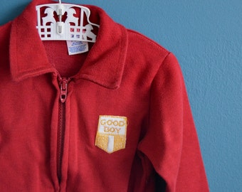"Vintage Toddler Boy's Burgandy Jacket with ""Good Boy"" Applique - Size 24 Months"