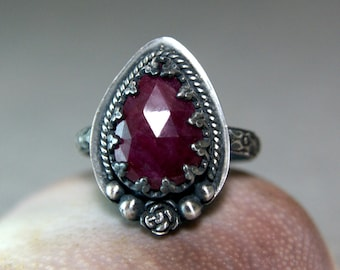 Vintage Style Natural Ruby Ring, Sterling Silver July Birthstone Jewelry, Woodland Style Ring