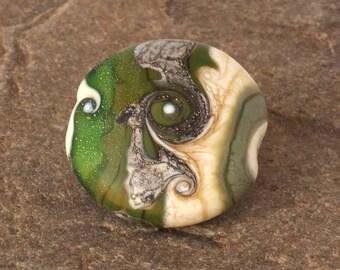 SRA Glass Lampwork Bead, Etched Matte Green & Ivory Focal Lentil