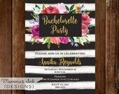 10% OFF SALE Black and White Watercolor Stripes Bachelorette Party Invitation, Shower Invitation, Roses Invitation, Gold Glitter Invitation,