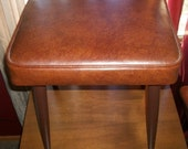 Vintage Sewing Seat Vinyl Footstool Ottoman