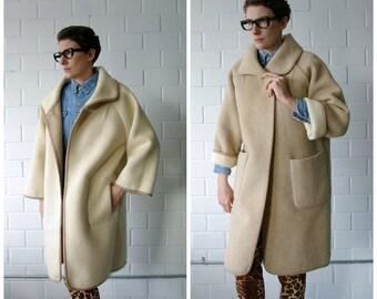 camel to cream 60s reversible coat - 1211257