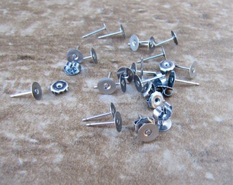 100 pcs 6mm Surgical Stainless Steel Flat Pad Earring Posts and Backs jewelry finding supplies