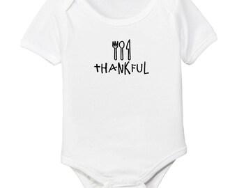 Thankful Thanksgiving Organic Cotton Monochrome Baby Bodysuit