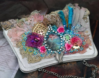 Little baroque purse- shabby chic upcycled vintage  purse, embroidered , vintage trims