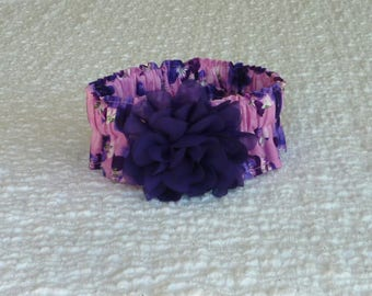 """Dog Ruffle Collar, Purple Pansies on Pink Dog Collar Scrunchie with chiffon flower - Size M: 14"""" to 16"""" neck"""