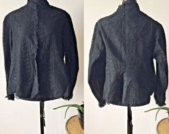 FLASH SALE Antique Victorian 1890s Black Lace Jacket | Beaded Cuffs | Gothic Steampunk | S M