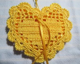 """Topaz 4""""X4"""" Heart Sachet-'Summer Splash' Fragrance-Heart Sachet-Hand Crocheted Herbal Sachet-Cotton and Satin-Cindy's Loft-726"""
