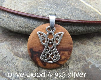 Necklace olive wood guardian angel 925 sterling silver leather brown stainless steel wooden jewelry alentejoazul
