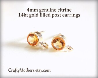 Take 15% off with 15OFF20, Yellow CITRINE Gemstone 14kt Gold Filled Post Earrings w/ backings (4mm) - 1 Pair (2 pieces), November birthstone