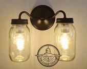 Canning Jar DOUBLE Wall Sconce NEW Quarts - Mason Jar Lights Flush Mount Farmhouse Fixture Lighting Chandelier Ball Rustic Pendant LampGoods
