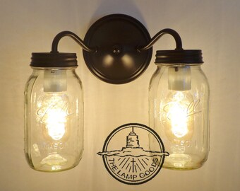 Canning Jar DOUBLE Wall Sconce NEW Quarts - Mason Jar Lights Flush Mount Farmhouse Fixture Lighting Chandelier Ball Rustic Pendant LampGoods