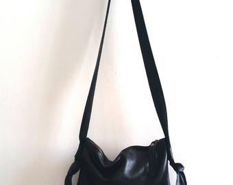 OnSALE Black leather bag, cross bady bag,