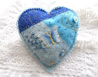 Felt Ornament Patchwork Heart with Butterfly Bead Embroidery Flower Sequins Swirls Dots and Heart Button One of a Kind