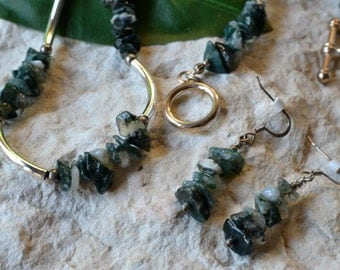 Moss Agate Necklace - Moss Agate Earrings - Moss Agate Chip Jewelry - Moss Agate - Moss Agate Jewelry