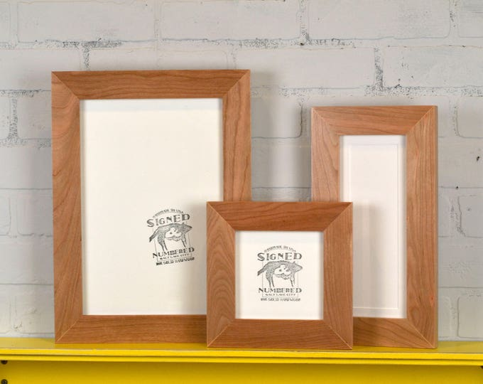 "Solid Natural Cherry Picture Frame 1.5"" Wide Style Choose your small frame size: 3x3, 2x6, 3.5x5, 4x5, 4x6, 5x5, 5x7, 6x6, 6x8, 7x7, 4x10"""