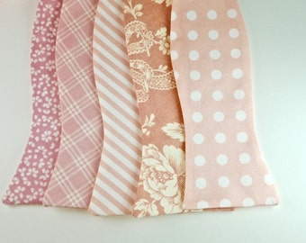 Blush Bow Ties Wedding Bow Ties Pink Bow Ties Groomsmen Bow Ties Custom Bow Ties Freestyle Bow Ties