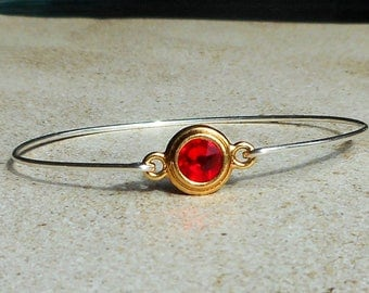 Clasping Sterling Silver Bangle with Ruby Red crystal Ruby Birthstone Jewelry