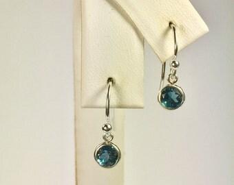 London Blue Topaz 5mm 1.40ctw Sterling Silver Backset Drop Earrings