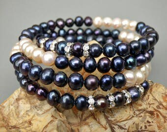 Pearl Bracelet Wraps Around 3.5 times, Freshwater Pearls 6-7 MM, 29 inches, Premium Pearl Jewelry