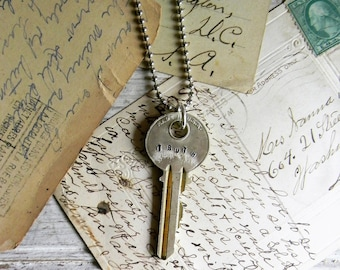 "Key Necklace, Stamped Key Necklace ""Truth"" Key Pendant, Key Jewelry, Vintage Key Pendant Necklace, Vintage Key Jewelry, Key Charm, Old Key"