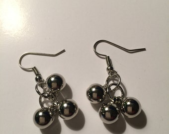 Cluster dangle earrings, cluster dangle earring, cluster dangles, cluster earrings, beaded dangles, beaded earrings, silver colored dangles