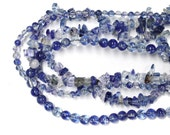 Blueberry Quartz Beads - choose from 4mm or 6mm smooth round beads or chip beads - man-made blue crystal fruit quartz jewelry bea
